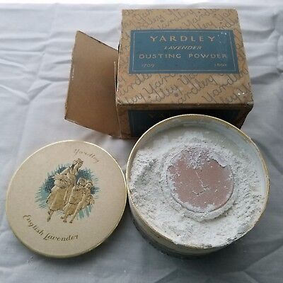 Vintage Yardley English Lavender Dusting Powder 1709 5 oz. W/Box Powder Open