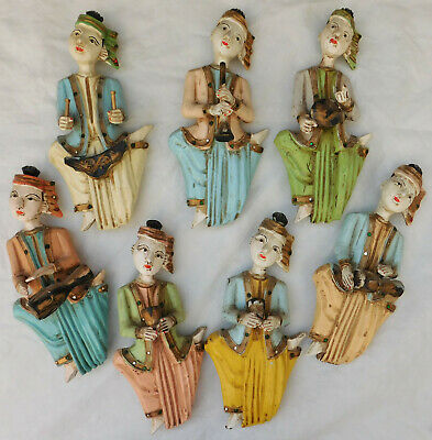 Set of 7 Burmese musicians Vintage antique wood figures oriental Burma Thailand