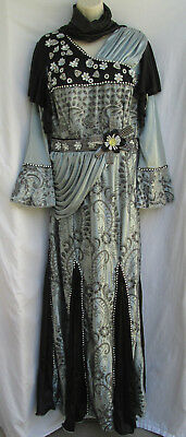 Womens M Silver & Black Cosplay Renaissance Medieval Gown Dress NWT