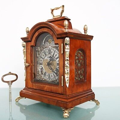 Vintage WARMINK Mantel CLOCK TOP Dutch Moonphase HIGH GLOSS! DOUBLE Bell CHIME!!