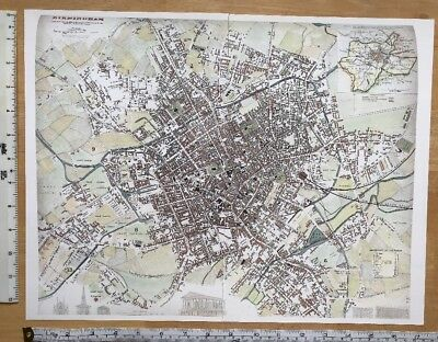 "Old Colour Antique Victorian Map of Birmingham, England: 1847 REPRINT 17"" x 13"""