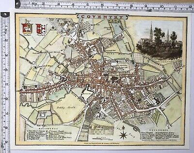 "Old Antique Vintage colour map Coventry, England: early 1800's: 12"" x 9"" Reprint"