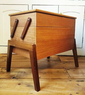 Vintage Mid Century Teak Wooden Sewing Box Table on Legs - cantilever 2 tier top