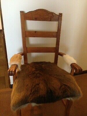 Unique Hand Carved Wooden High Back Arm Chair w/ Deer Hide Covered Seat and Arms