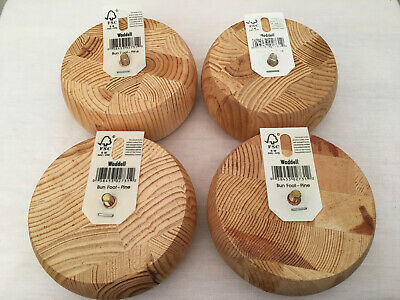 WADDELL (2731) 4-Lot Unfinished Solid Pine Wood Bun Foot, NWT