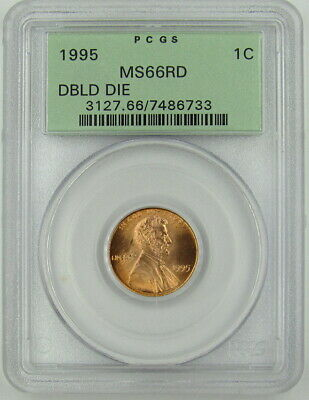 1995 Double Die Obverse Lincoln Cent Pcgs Ms66Rd - Old Holder