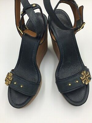 707bf5426df1 Tory Burch Elina Navy Blue Size 9 Platform Wedge Ankle Strap Open Toe  Sandals EX