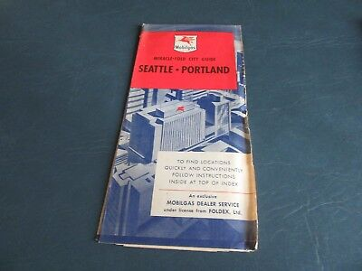 Vintage Road Map Seattle Portland 1930's ??  Mobilgas Gas Oil RARE!  Lot 18-67