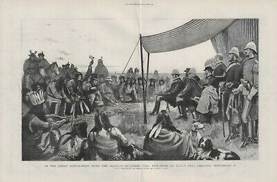 OLD ANTIQUE 1881 LARGE PRINT NORTH WEST CANADA POW-WOW AT BLACK FEET CROSSING d8