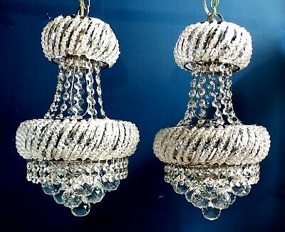 Vintage French Crystal Chandeliers Lights Silver Frame Bling PAIR available