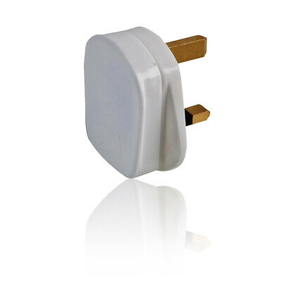 13 Amp 3 Pin UK Mains Plug with Quickfit Cord Grip Adapter - White