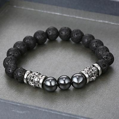 Antique Silver Skull And Lava Stone Bead Bracelet
