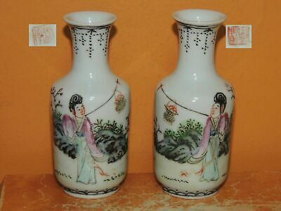 "2 Chinese miniature Vase 3.5+"" Famille Rose women Antique late qing republic"