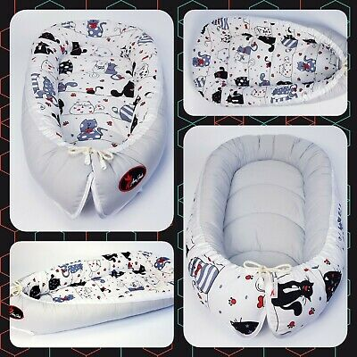 BABY NEST POD COCOON normal size 0-6 m HIGH QUALITY  cats on white