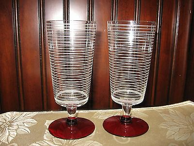 Set of 2 Vintage Etched Striped stem Ruby Red Footed Champagne Wine Glasses