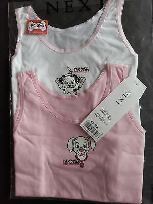 SALE Next 101 Dalmation 2 pack Pink And White Girls Vest, Age 2 and 5/6 Years