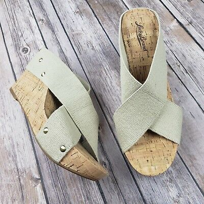 6e9eb5004 New Lucky Brand Miller 2 Cork Wedges Sandals Elastic Straps Beige Heel Size  8.5