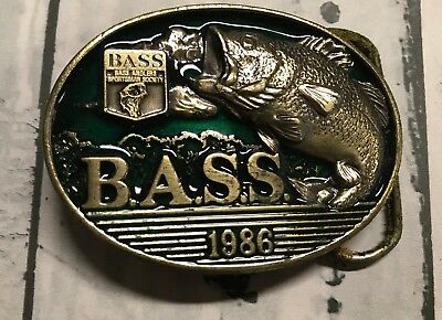 Vintage 1986 **BASS ANGLER SPORTSMAN SOCIETY** FISHING BELT BUCKLE