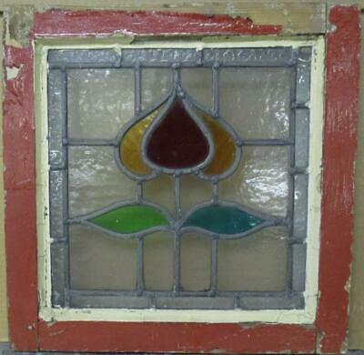 "OLD ENGLISH LEADED STAINED GLASS WINDOW Pretty Bordered Abstract 16.25"" x 16.25"""