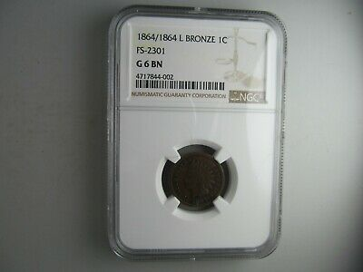 """1864/1864 """"L"""" Indian Head Cent, NGC G-6 -- ULTRA RARE VARIETY COIN!"""