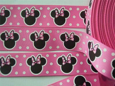 "BB Ribbon MINNIE MOUSE LOLLY PINK 2m grosgrain 7/8"" disney mickey craft hair bow"