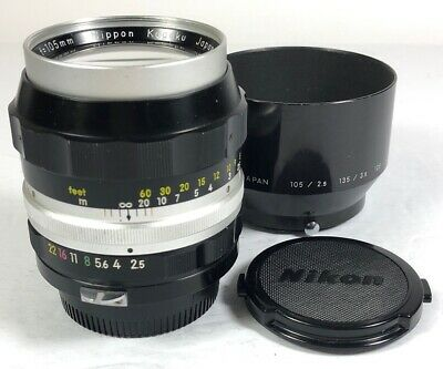 Nikon Nikkor-P 105mm f2.5 non AI lens 90% perfect optic collector dream