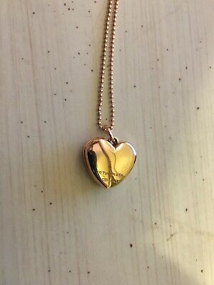 b582f9309 Tiffany & Co 18k Rose Gold Heart Locket Pendant with Beaded Chain and Box