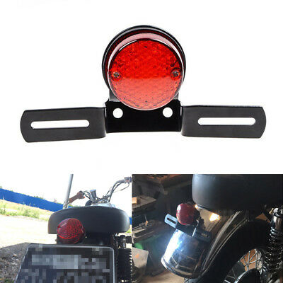 Motorcycle License Number Plate Bracket Tail Stop Running Light Red Lens Round G