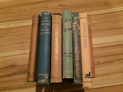 Vintage antique old books lot poems poetry dust covers rare signed wilfred funk
