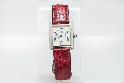 Signed 2416 CARTIER Sterling Silver RED UNISEX Mens Ladies Watch MINTY