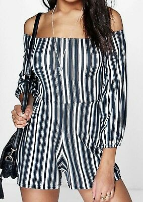 Boohoo Laura Striped Off The Shoulder Playsuit Black Size US 8 NWT