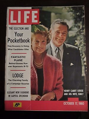 Life Magazine Henry Cabot Lodge and His Wife Emily October 1960 Newsstand MINT