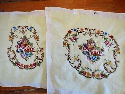 EXQUISITE Vintage Extra Large 2 Petit Point & Needlepoint Floral Finished pieces