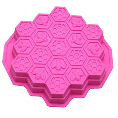 Silicone Honey Comb Bees Soap Mould Beeswax Ice Chocolate Cake Pan 19Cell A33X