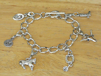 Silver-Tone Western/Cowboy/Horse Riding/Cowgirl/Rodeo Charm Bracelet Boot/Hat+