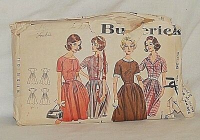 Old Vintage 1960's Butterick Sewing Pattern 2210 Jr. & Misses Full Skirted Dress