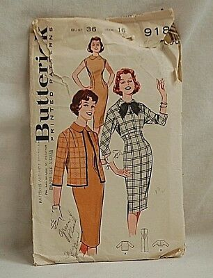 Old Vintage 1960's Butterick Sewing Pattern 9180 Jr. & Misses Dress & Jacket Mix