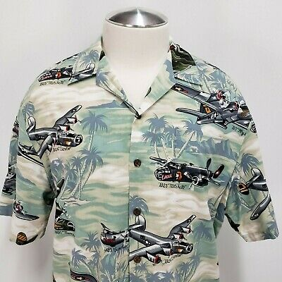 b4b95c76 KALAHEO USA WWII Warbirds Airplanes Bombers Button Hawaiian Shirt ...