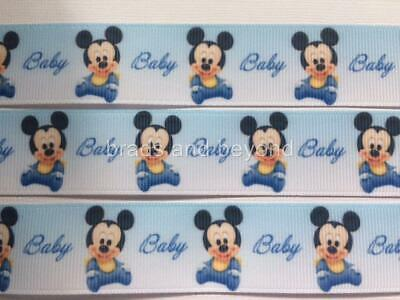 "BB Ribbon BABY BOY MICKEY MOUSE BLUE  2m grosgrain 1"" 25mm"