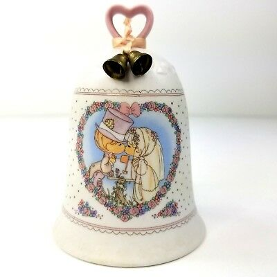 Precious Moments Sealed With A Kiss Wedding Bell 1992 Bride & Groom Collectible