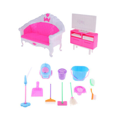 Mini Cleaning Tools & Double Sofa TV Cabinet For 12inch Fashion Dolls House