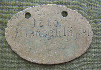 "WWI German ID Badge ""Dog tag"" 1914-1918 Otto Ollenschluper World War I relic"
