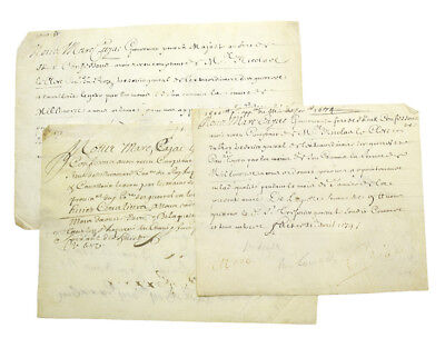 "Louis XIV / Three manuscript documents signed ""Marc Cajac"" 1678"