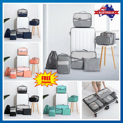 6/7Pcs Clothes Underwear Socks Packing Cube Storage Travel Luggage Organizer Bag