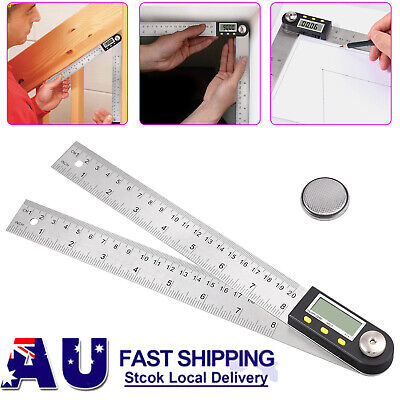 Digital Angle Finder Protractor Meter 8 Inch Stainless Steel 360° Ruler Measurer