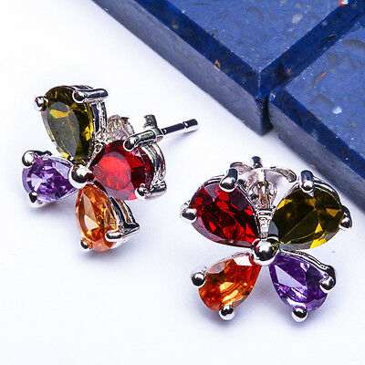 15078 NEW ITEM Multi Color Gemstone .925 Sterling Silver Ring Size Sizes 5-9