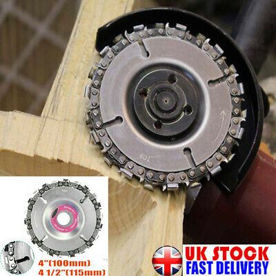 """4"""" Angle Grinder Disc Tooth Chain Saw For Wood Carving Cutting Plastics Tool UK"""