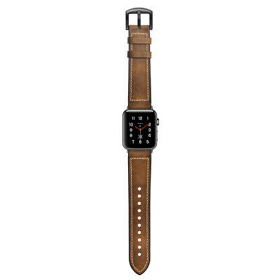 Reloj Silicona Cuero Genuino pulsera correa Banda reemplazo apple watch 1/2/3/4