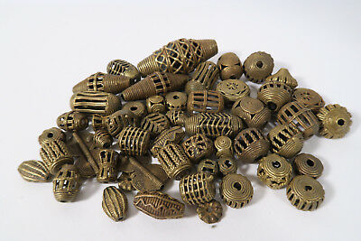 Großes Lot Messingperlen L3 Gelbguß Ghana Brass Beads Ashanti Akan Afrozip