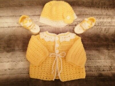 Hand crochet Cardigan, hat and converse style boots size newborn